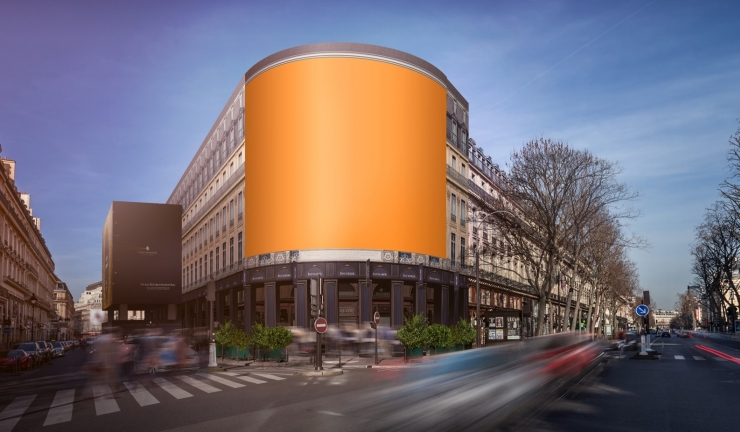 JDecaux publicité lumineuse géante communication visuelle xxl facade communicante street art habillage creation evenementielle capucines grands boulevards Paris grands magasins